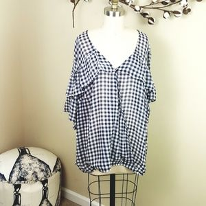 Lily White // Navy/White Gingham Ruffle Top, NWOT